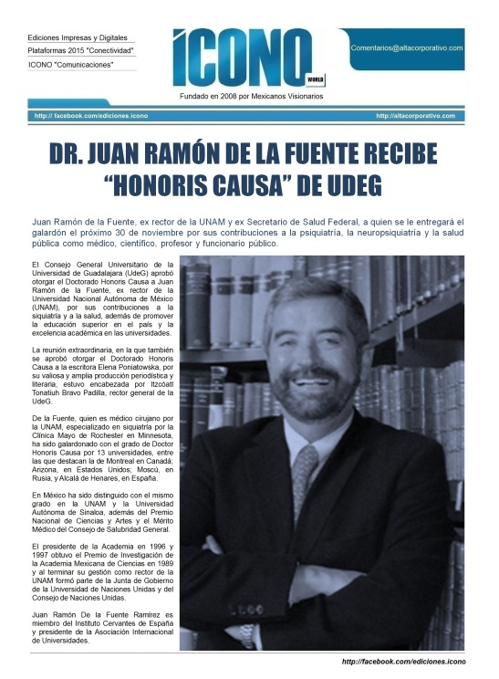 Dr. Juan Ramón de la Fuente DR. HONORIS CAUSA por la UdeG